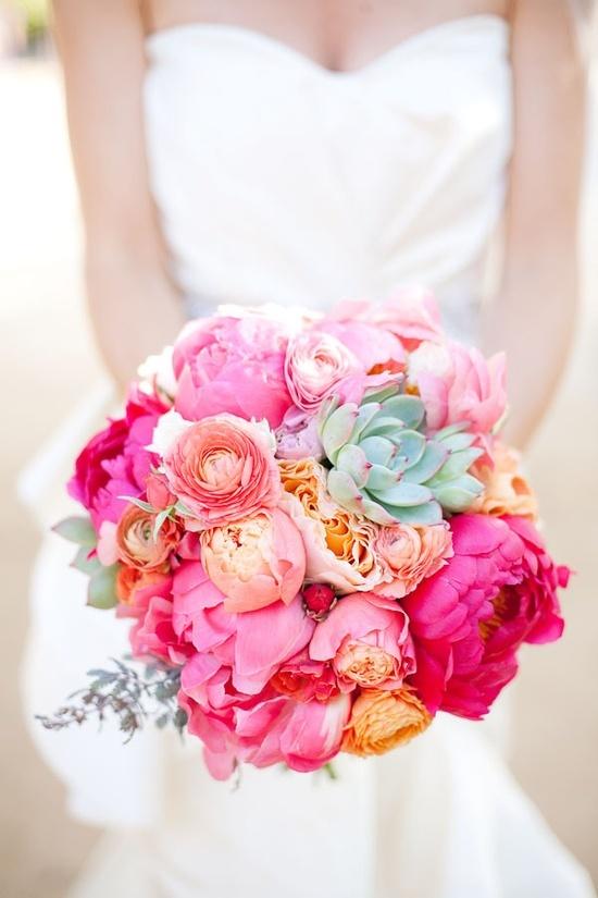 Brautstrauss Pfingstrosen Pink Orange Hochzeitsblog Schweiz