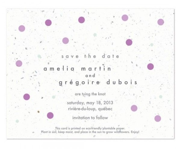 Einladung Hochzeit Polkadots Lila