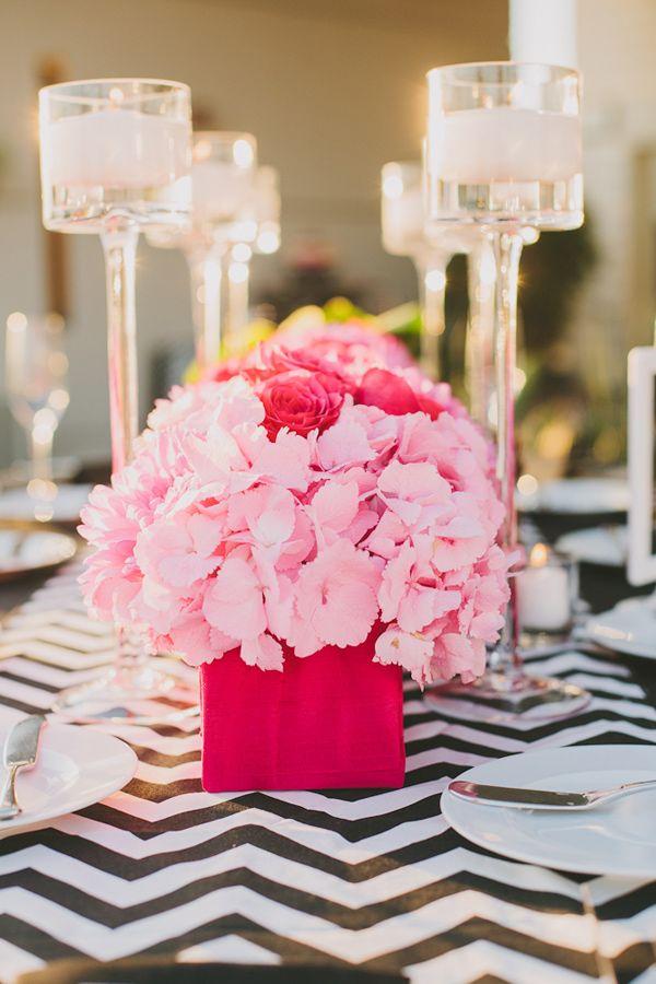 Tischdeko Hortensien Rosa Pink Rosen Hochzeit Hochzeitsblog Schweiz
