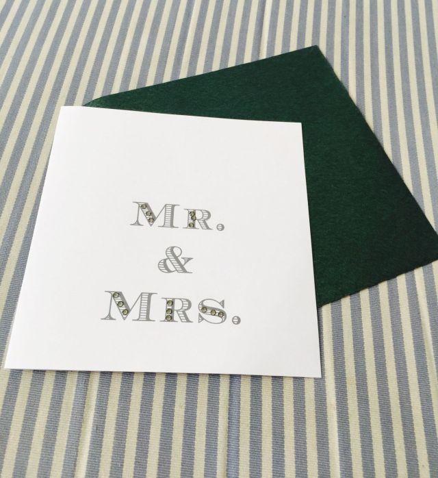 Glückwunschkarte Hochzeit Mr and Mrs Grün Weiss Strass Trixi Gronau